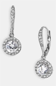 Nadri Cubic Zirconia Drop Earrings | Nordstrom - only 45 dollars and match my engagement ring perfectly!