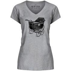 Mintage Baby Stroller Antique Womens V-Neck T-Shirt
