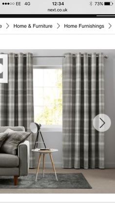 Highland Tartan Plaid Check Curtains With Ring Top Eyelets In Grey