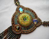Bead Embroidery necklace green gold olive - Bead Embroidered