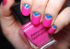 """This is a simple """"V"""" mani using Deborah Lippmann Pop Life and CND Anchor Blue"""