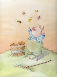 Even pigs need to gather fall leaves.  (by Christine Grove)