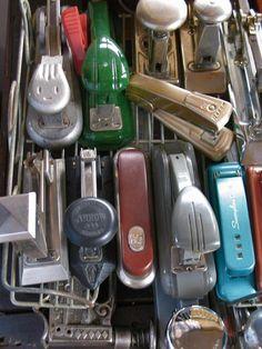 Traffic jam of vintage staplers.
