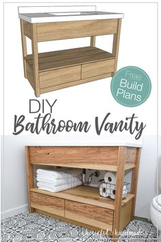 DIY Bathroom Vanity with Bottom Drawers Update your bathroom this weekend with the free build plans for this beautiful modern bathroom vanity. Sized to fit an off-the-shelf vanity top, this vanity is easy to build and looks great. Diy Vanity, Diy Bathroom Vanity, Simple Bathroom, Bathroom Ideas, Bathroom Cabinets, Bathroom Organization, Bathroom Mirrors, Remodel Bathroom, Bathroom Makeovers