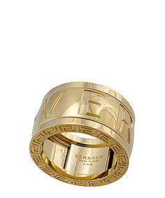 Versace Engraved Diamond Logo Ring In Gold Designer Jewellery Sale Secret