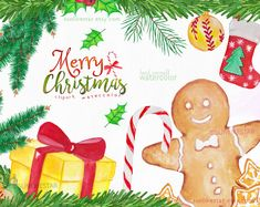 Christmas Holiday Winter Clip Art: Digital Watercolor Xmas Clipart / Merry Christmas graphics / separate png, gingerbread, christmas candy by SunlikeStar on Etsy