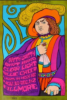 Nitty Gritty Dirt Band, Blue Cheer, Clear Light, at the Fillmore, by Wes Wilson Rock Posters, Band Posters, Vintage Concert Posters, Vintage Posters, Janis Joplin, Grateful Dead, Pink Floyd, Wes Wilson, Fillmore West