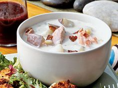 Salmon Chowder | This creamy Salmon Chowder tastes as good as if served in a restaurant. The crumbled bacon on top adds extra crunch and flavor to the soup.