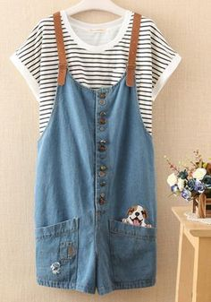 This women suspender jean with wide legs and 4 pockets had a cute embroidery. A cute cat on the light blue jean. An adorable dog on the darker blue jean. Very original and casual. You will love to wea