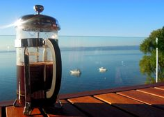Saying goodbye to Lake Neuchatel in Switzerland with the comforts of a coffee press