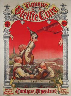 Liqueur De La Vieille Cure #original #vintage wine and spirits poster from 1904 France. French advertisement with early aviation image.