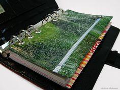Filofax Personal Tasche Kalender Stiftetasche Zubehörtasche Grün upcycling