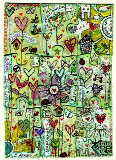 Creative use of Altered Puzzle Pieces on this Art Journal!
