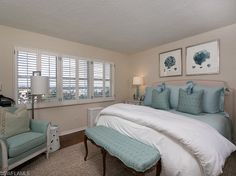 Blue and sand - coastal master bedroom - on the Beach in the Moorings, Naples, Florida