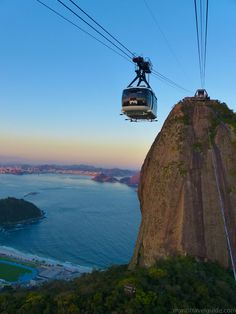 Cable car coming down from the summit of Sugar Loaf in Rio - Brazil