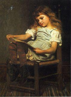 First Reader, John George Brown. English-born American Realist Painter (1831 - 1913)