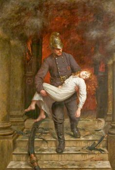 Saved The Fire Service College - Charles Vigor - (British: Wildland Fire, Victorian Paintings, Lightning Strikes, Classical Art, Art Graphique, Fire Engine, Fantasy, Oeuvre D'art, Fire Trucks