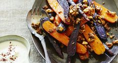 Brown butter carrots with walnuts & cauliflower sauce. Vegetables with a delightful rustic twist