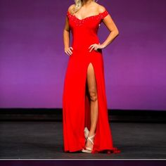 Beautiful Red Evening Gown Backless, off the shoulder dress with high slit. Only worn once on stage Dresses