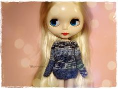 BLYTHE Sweater, Jumper, Dal, Pure Neemo, Licca, Basaak, Icy Doll, Jecci Five - Knitted Multicolor Gray Sweater #91 by MPdollWorld on Etsy