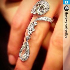 Instagram media by bijouxdeluxe_ - #Repost @thejewelcollective ・・・ And taking out last place with their second appearance today, is Scavia with this antique cut masterpiece! With love the elegant flow of the design, and the different use of cuts to set each stone off against the others. We would hang with this sparkly ring any day or night of the week! (Photo: pinterest.com) #thejewelcollective #scavia #pearshape #pearcutdiamond #roundbrilliant #roundbrilliantdiamond #dressring #coctailring…