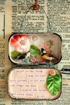 Altered Tin. via A blog about fashion, design, art, decor, all things beautiful.