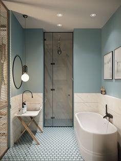 Gorgeous 78 Light Blue Bathroom Color Decorating Ideas 28 Bathroom Lighting Ideas to Brighten Your Style Design # Bad Inspiration, Bathroom Inspiration, Beautiful Bathrooms, Modern Bathroom, Bathroom Vintage, Minimalist Bathroom, Bathroom Grey, Shower Bathroom, Light Bathroom