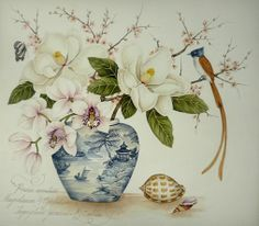 Magnolia Flowers with Cymbidium orchid and cherry blossom, Paradise Flycatcher and shells. Original Painting by Kelly Higgs.
