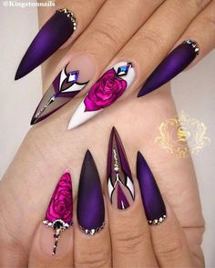 we compare more than 200 gorgeous coffin nails with stiletto nails.In the spark of the contrastive collision of these gifted nail creations, Ongles Stiletto Mat, Matte Stiletto Nails, Coffin Nails, Pointed Nails, Black Nails, Long Nail Designs, Beautiful Nail Designs, Acrylic Nail Designs, Stiletto Nail Designs