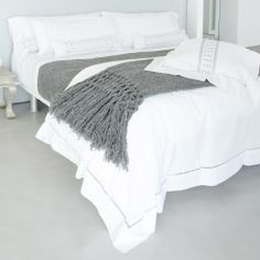 Sefte Neama Duvet Cover; white with charcoal embroidery