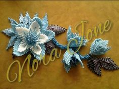 beaded blue flowers...handmade jewelry...
