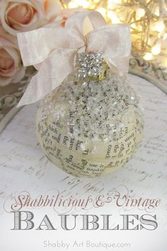 The beauty of vintage book paper balls is that they tie in with so many different themes…. and it's a perfect way to reuse coloured balls that no longer match your colour scheme. Quick and easy project tutorial from Shabby Art Boutique
