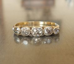Antique Diamond Engagement Ring 18k Gold  FREE by AntiqueSparkle, $965.00