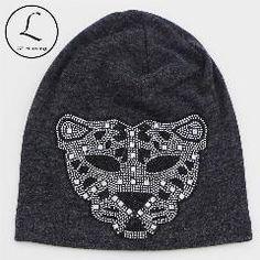 0168e39a24a 2016 New Rhinestone Oversized Beanie Hats For Women Girls Leopard Cotton  Polyester Beanie Hats For Women Winter Knit Beanies Hat