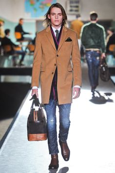 I always enjoy Dean and Dan's pragmatism, or the way they mix denim with 3-button tan coat. Dsquared Fall 2012 is all about wearable separates.