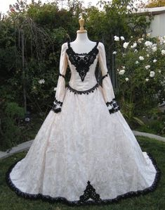 Gothic Renaissance Fairy Medieval Wedding Gown or Costume- Custom $975