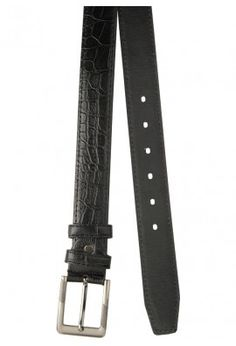BLACK CROC TEXTURED LEATHER BELT