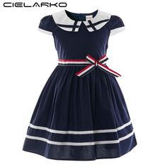 02efaec79c8 Cielarko Children Girls Preppy Style Dress Kids Stripe Casual Petal Sleeve  Student Bow Cotton Dresses Baby Summer Clothing 2018 from seadragontech