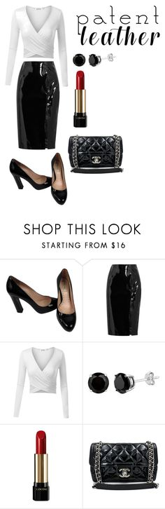 """Patent Leather"" by dfish016 ❤ liked on Polyvore featuring Miu Miu, Topshop Unique, Lancôme and Chanel"