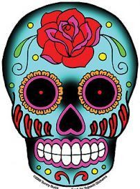 A bright blue rose tattooed Sugar Skull. Happy Dia de los Muertos! Weather-resistant, extra long-lasting. Size: 3.75'' x 6'' Artist: Sunny Buick