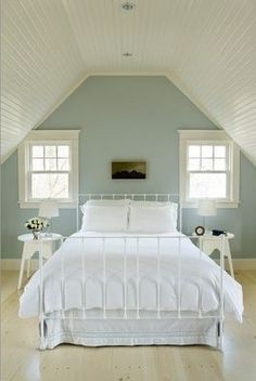 Stylish Bedroom Paint Ideas Applied for Guys Private Space: Cool Contemporary Bedroom Design Interior With Soft Blue Bedroom Paint Ideas And. Attic Bedrooms, Guest Bedrooms, Home Bedroom, Girls Bedroom, Bedroom Decor, Blue Bedrooms, Attic Bedroom Ideas Angled Ceilings, Attic Stairs, Upstairs Bedroom