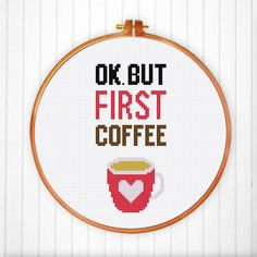 But First Coffee cross stitch pattern Funny cute by ThuHaDesign