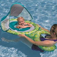 Float with your baby with the Swimways Mommy and Me Baby Spring Float with Canopy presented by Pool Toy Express. This innovative design spring float allows your baby to float safely while you float al Siege Bebe, Materiel Camping, Baby Float, Pregnant Mom, Everything Baby, First Baby, Baby Hacks, Mommy And Me, Baby Sleep