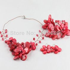 Bridal Jewelry Red Pearl and Shell Necklace Bracelet and Earrings Set $55.08