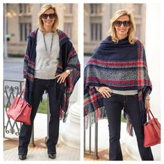 Our Red Gray and Blue Boucle Poncho featured on my blog today which works beautifully with our Blue Gray Bead Necklace - Both items available in our shop ❤ www.jacketsociety.com ❤  .  .  #ootd #fashion #blog #style #blogger #outfit #weekend #chic