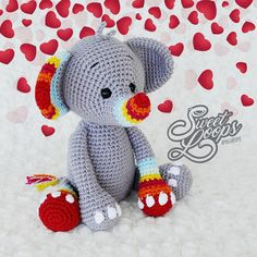 In this article I will share a wonderful amigurumi pattern again. You can enjoy this beautiful amigurumi elephant free english pattern.  Materials  Yarn Pekhorka children's novelty,  1 skein of the main color, half  skein of a different color  Hook 1.5-1.75 Main Colors, Different Colors, Elephant Pattern, Free Pattern, Dinosaur Stuffed Animal, English, Patterns, Live, Toys