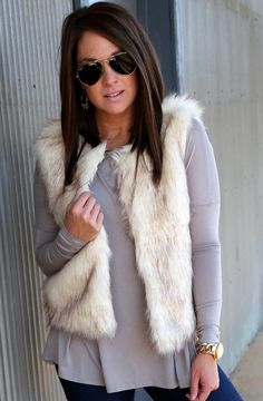 Love this cream faux fur vest! - Shop the Rage