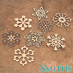 2012 Collection 1 - Wooden Laser-Cut Holiday Snowflake Ornaments - 3 Inch Diameter - Set of 8 on Etsy, $18.00