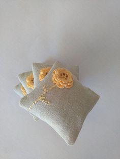 Items similar to Lavender sachets set of 2 wedding favors-crochet sachet lavander on Etsy Lavender Bags, Lavender Sachets, Lavander, Crochet Sachet, Crochet Stitches, Knit Crochet, Preschool Crafts, Diy Crafts, Knitting Patterns