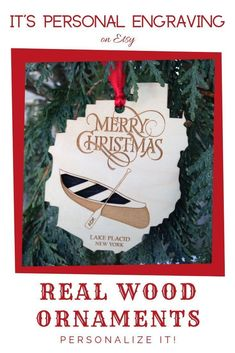 This real wood ornament is laser cut from two separate pieces of wood for a beautiful dimensional effect. The familiar Adirondack shape is adorned with a canoe and ADK paddle. Personalize it with any village name! Perfect for gifts and for your own holiday decorations! #Adirondacks #ADK #NewYorkOrnament #Customornaments #peronalizedornament #Woodenornament #woodornaments #forfamily #familyornament #canoe #forpaddler #uniquegifts #affordablechristmasgifts #christmasornaments…